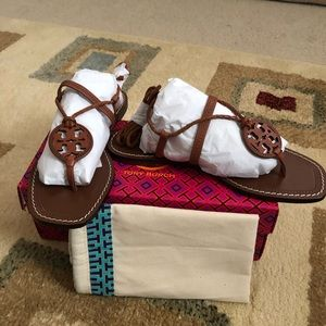 Tory Burch Miller Braided Ankle Wrap Sandal